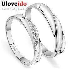 Casamentos anéis para homens e mulheres 2016 uma par de prata de cristal anel de noivado 20% Ulove J293(China (Mainland))