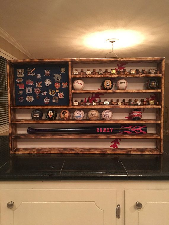 Baseball Flag Championship Ring And Ball Display Case Holder