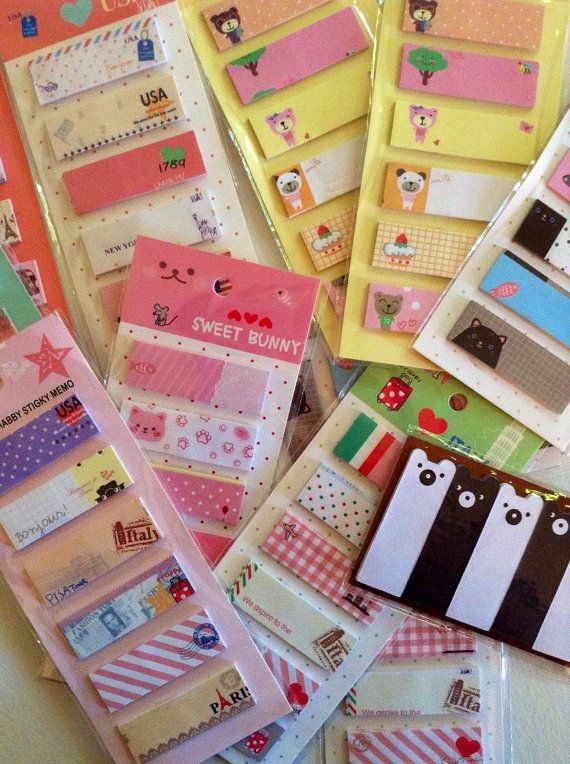 kawaii sticky notes sticky notes page by KittysGiftsNMore on Etsy