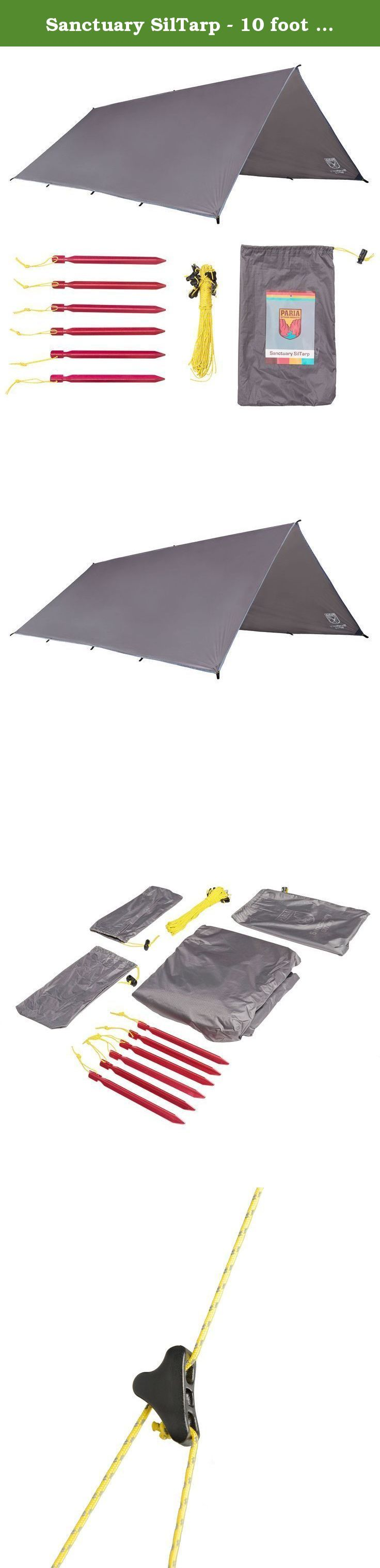 Sanctuary SilTarp - 10 foot x 8 foot Ultralight and Waterproof Rain Shelter Tarp, Guy Line and Stake Kit - Perfect for Hammocks, Camping and Backpacking. When nature doesn't play nice, fight back with the most flexible and complete tarp set up you can buy! Our Sanctuary SilTarp provides unlimited pitching options, top notch waterproofing, and high quality materials to make it the perfect lightweight shelter. A Complete Kit: Sure, there are other tarps to choose from, but do they provide...