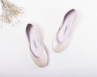 The Wedding Shoes in Pearl White | The Bridal Flat Shoes in Shiny White | Shoes for Bride in Pearl White