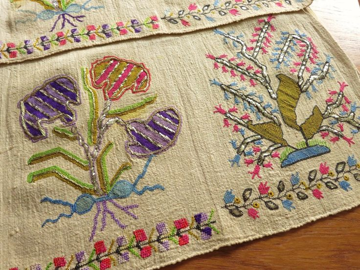 Vivid Color Antique Ottoman Turkish Silk Metallic Embroidery Towel Yaglik