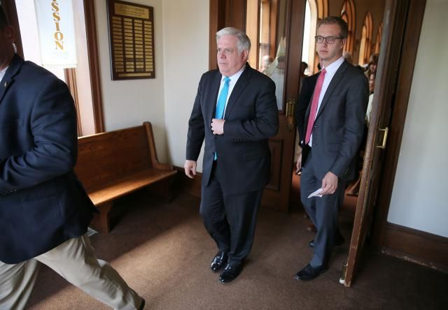 Governor Hogan Fights Public Battle with Lymphoma: Maryland Gov., Larry Hogan (C) departs after Sunday services at Saint Peter Clavers Catholic Church after he called for a Day of Prayer following a week of unrest In Baltimore City following the death of Freddie Gray