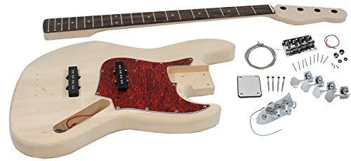 Solo Jazz Bass Style DIY Guitar Kit, Basswood Body, Maple Neck Rosewood FB, JBK-1