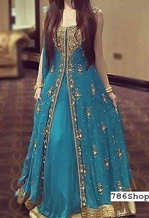 Blue Crinkle Chiffon Suit | Buy Pakistani Fashion Dresses and Clothing Online in USA, UK
