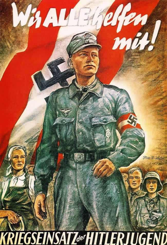 Hitlerjugend propaganda poster wwii pinterest hitler for Third party wall notice