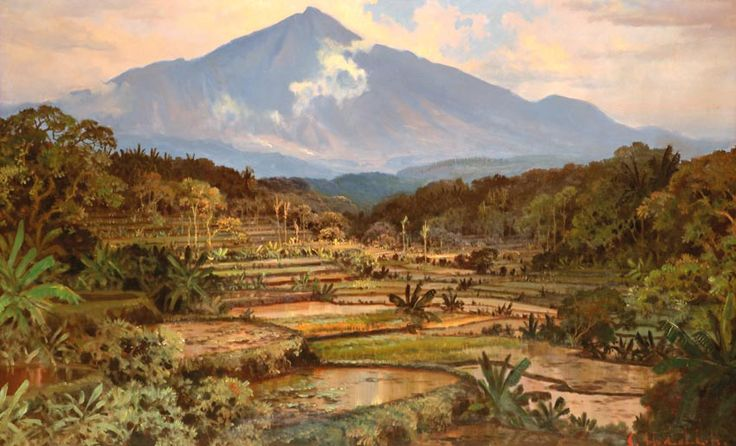 Sudjono Abdullah - Pemandangan Sawa dan Gunung
