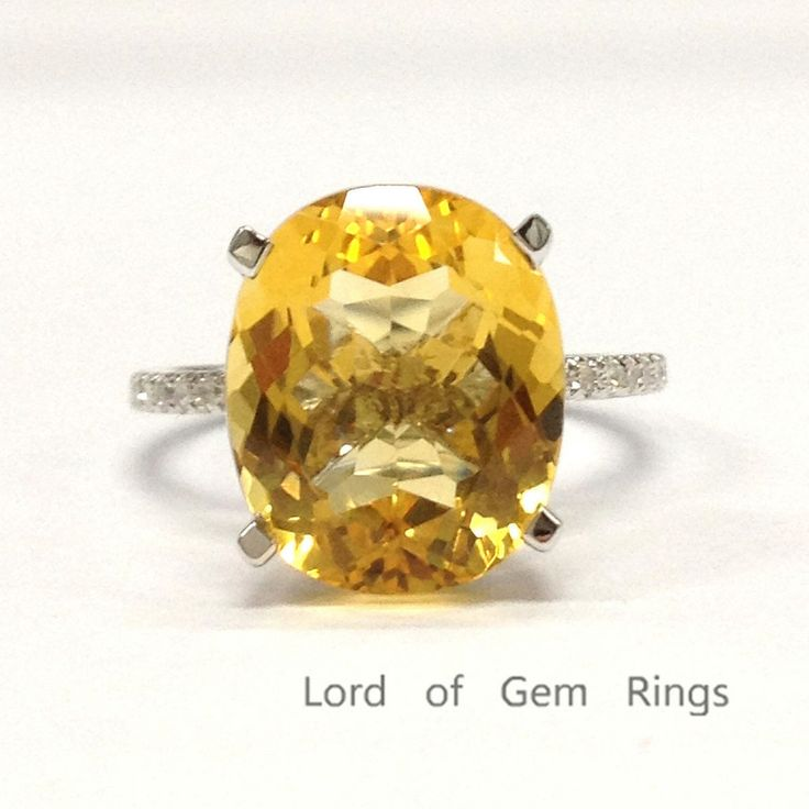 Nice Oval Citrine Engagement Ring Pave Diamond Wedding K White Gold xmm