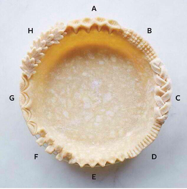 Pie crust edge ideas from Martha Stewart (Instagram). Photo only.