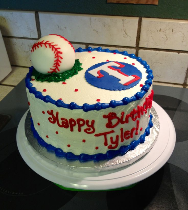 Hmm!!'  - Happy Birthday to me - love this cake !!! Texas Rangers cake with fondant baseball