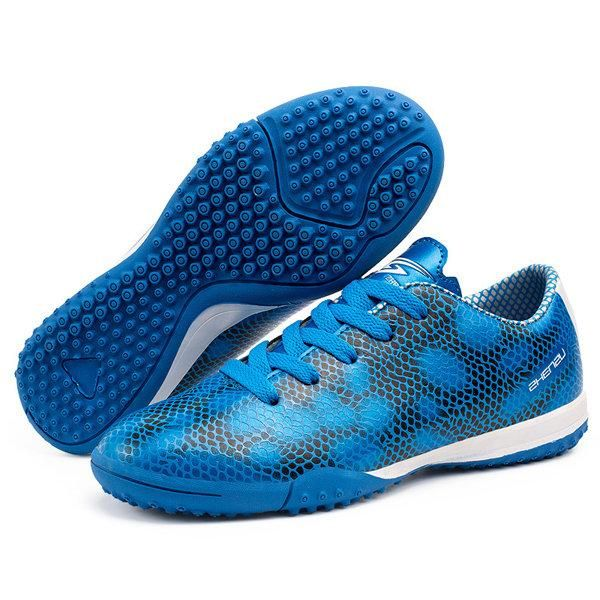 Boy Pattern Lace Up Anti Skip Soccer Shoes For Kids