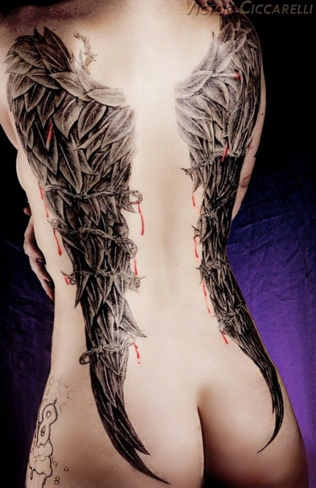 Marisol Diego Pornstar angel wings tatoo