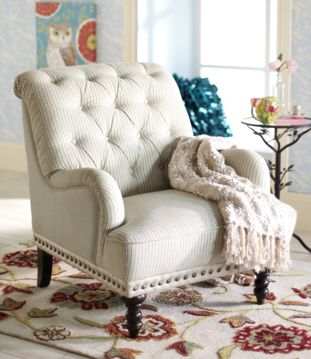 Beautiful Chas Gray Blue U0026 White Seersucker Armchair