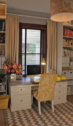 Cute and cozy office. I would use buttercream instead of bright yellow, but love the layout!
