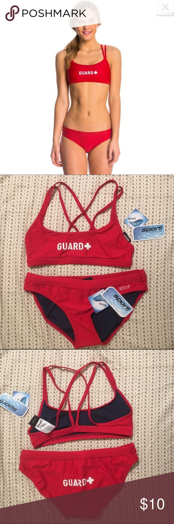 NWT Sporti Double Cross Lifeguarding Swimsuit I got a new job that didn't allow two piece. Originally bought on swim outlet. 80% Nylon 20% Lycra. Sporti Swim Bikinis