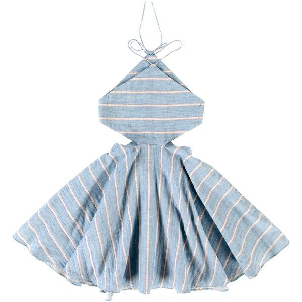 Tuchinda Blue Stripe Annika Dress (94 CAD) ❤ liked on Polyvore featuring dresses, blue dress, blue day dress, blue striped dress, striped dresses and stripe dresses