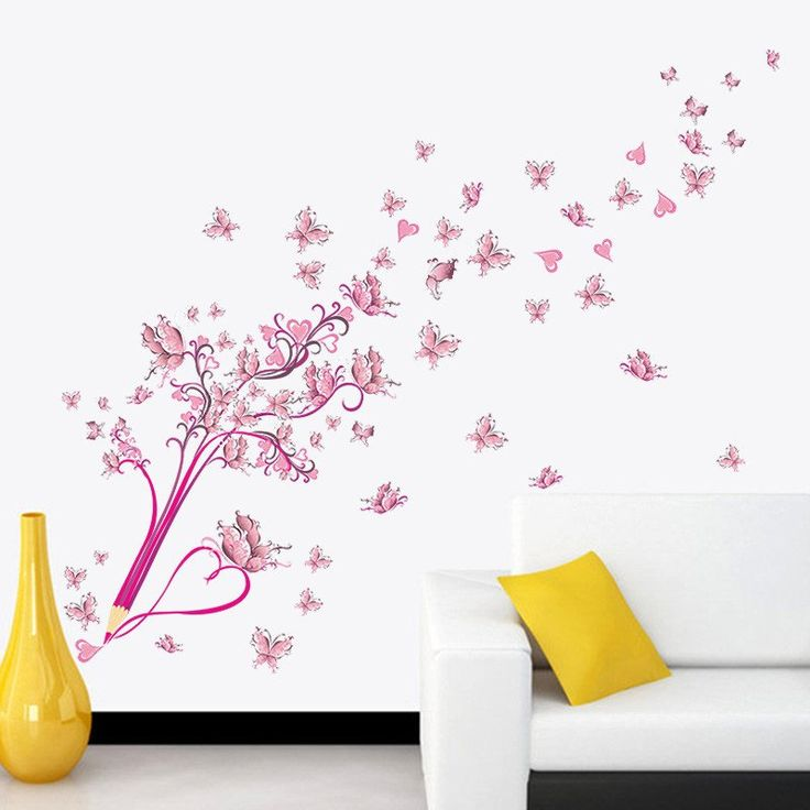 Flying Pink Butterfly Flower Blossom Pencil Tree Removable Wall Decal – GetheBuzz