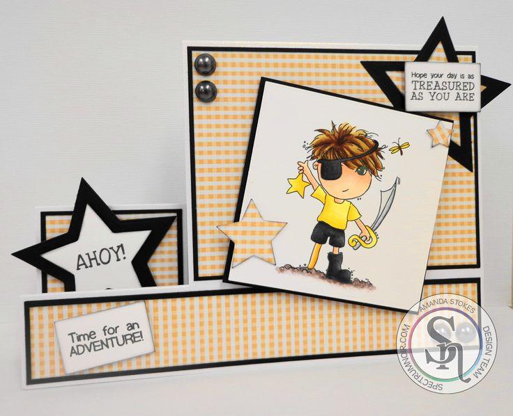 Scruffy Little Kitten - Amanda Stokes - Ahoy Stamp - Spectrum Noir markers used; Skin - FS9, FS5, FS3, FS1; Hair - EB8, EB7, EB3, EB2, EB1; Shirt - CT4, CT3, CT2, CT1; Shorts, Patch & Boot - IG10, IG9, IG8, IG6; Sword - IG5, IG3, IG1. Paper from CD, CC Die'sire Essentials Star dies - #crafterscompanion #spectrumnoir