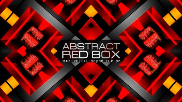 Abstract Red Box Video Animation | 6 clips | Full HD 1920×1080 | Looped | Photo JPEG | Can use for VJ, club, music perfomance, party, concert, presentation | #3d #box #colourful #dance #edm #geometric #glossy #glow #loop #music #orange #pattern #sequence #spinning #vj
