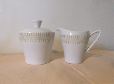 Upsala Ekeby Karlskrona mid century modern creamer and sugar bowl