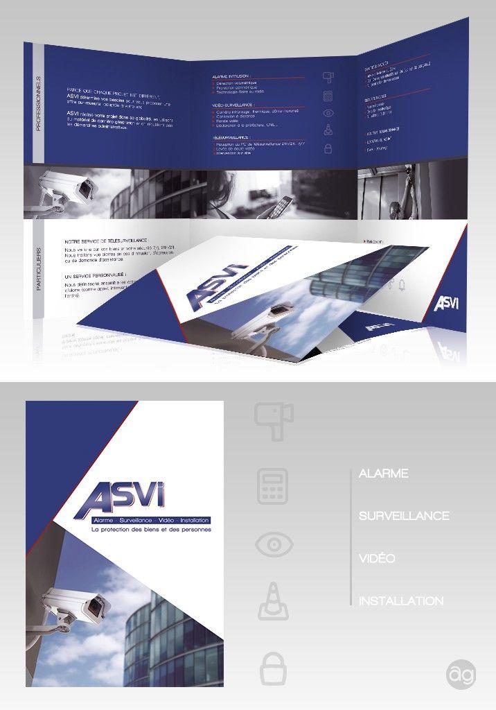 Plaquette commerciale pour la société de vidéo-surveillance ASVI. Dépliant en 3 volets.