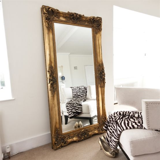 Image of elaborate gold full length mirror bathroom for Decorative floor length mirrors