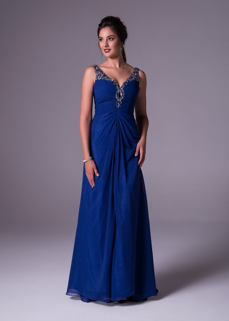 This marine blue chiffon soft & slim gown shows off fully beaded straps and keyhole detail with a V-neck. Oleg Cassini available exclusively at Bride&co: http://www.brideandco.co.za/product/new-collection/15251/