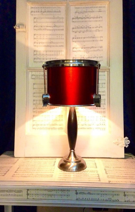 Industrial chic drum lamp in cherry red, black, and chrome. Sweeeet! This lady has talent. Another awesome piece.: