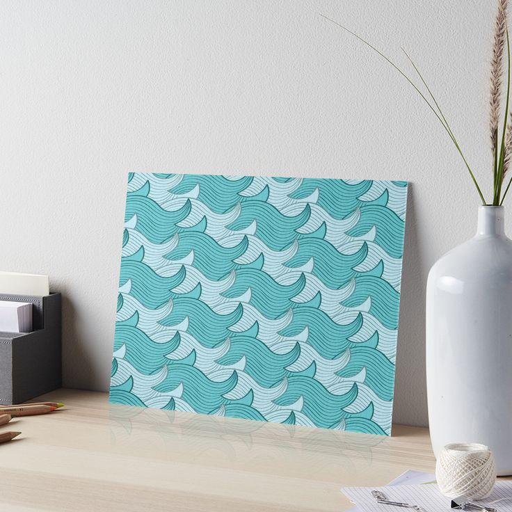 California Surf Wave Pattern Illustration by Gordon White | California Surf Gallery Board Available in 3 Sizes @redbubble --------------------------- #redbubble #stickers #california #losangeles #la #surf #wave #cute #adorable #pattern #frame #print #gallery #galleryboard #wallart