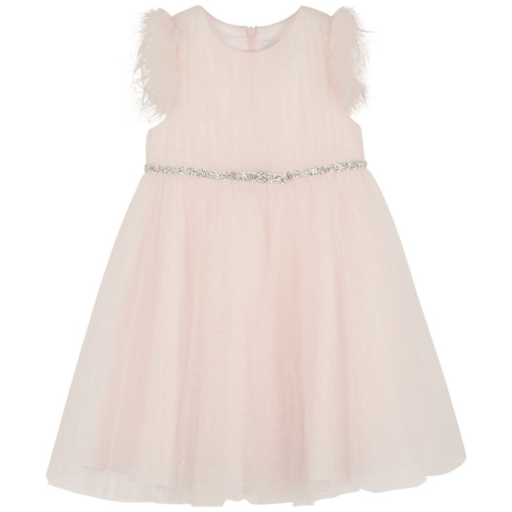 Light pink ceremonial dress in glittered tulle #outfit #FW15 #fall #winter #kidsfashion #ceremony #lightpink #glittered #dress