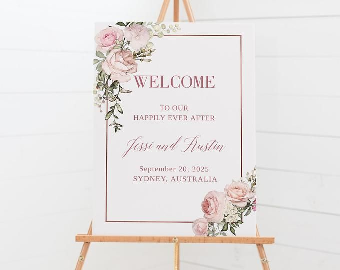 Welcome Wedding Sign Rustic Welcome Sign Welcome To Our Etsy Floral Wedding Sign Jenga Wedding Wedding Signs