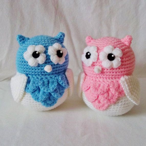 Amigurumi Pink and Blue Cute Owl Baby Twins on Etsy, $39.00 CAD