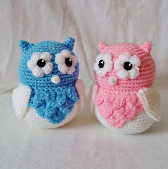 Amigurumi rosa y azul búho lindo bebé gemelos