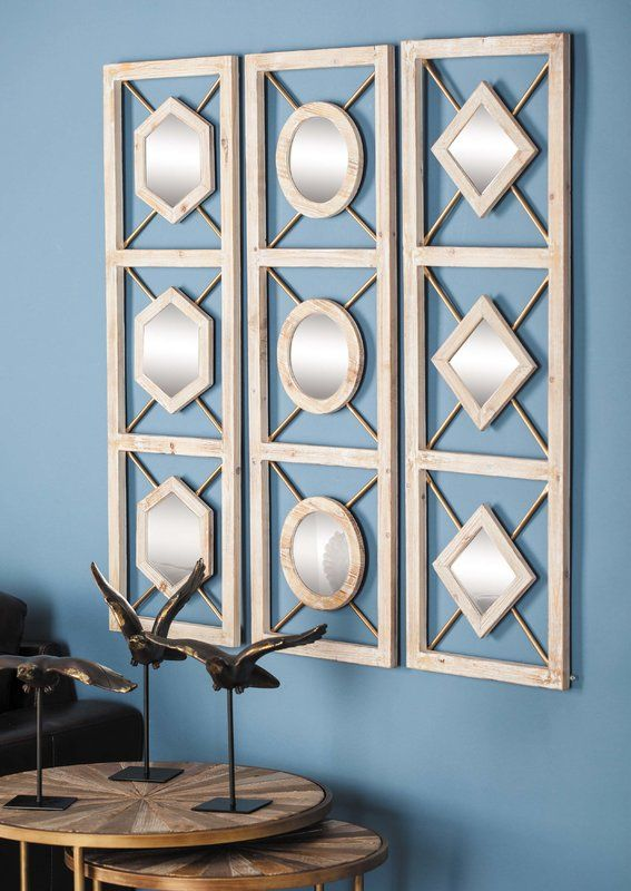3 Piece Wall Decor Set Wall Mirrors Set Mirror Wall Bedroom Framed Mirror Wall