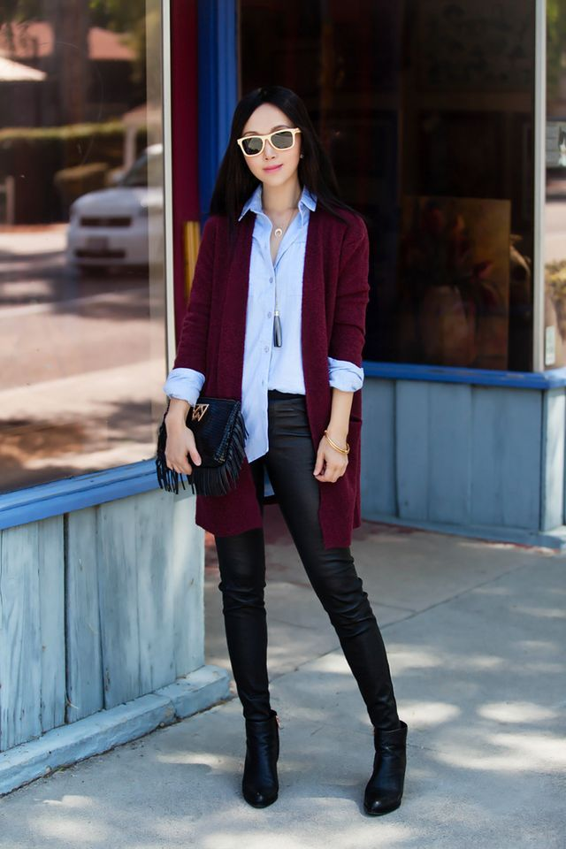 Maroon cardigan / chambray button-up / black skinny jeans / ankle boots