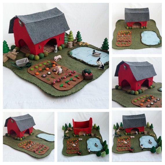 Red Barn Farm Playscape Play Mat felt pretend open-ended storytelling make believe garden pond dollhouse unisex preschool toy gift child