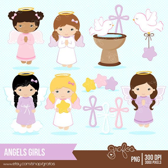 ANGELS GIRLS Digital Clipart  Baptism Clipart Angel by grafos, $5.00