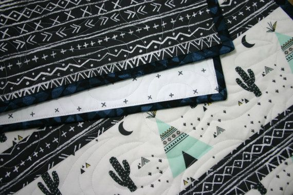 Teepees Aztec Baby quilt cactus nursery bedding by TinRoofQuilters