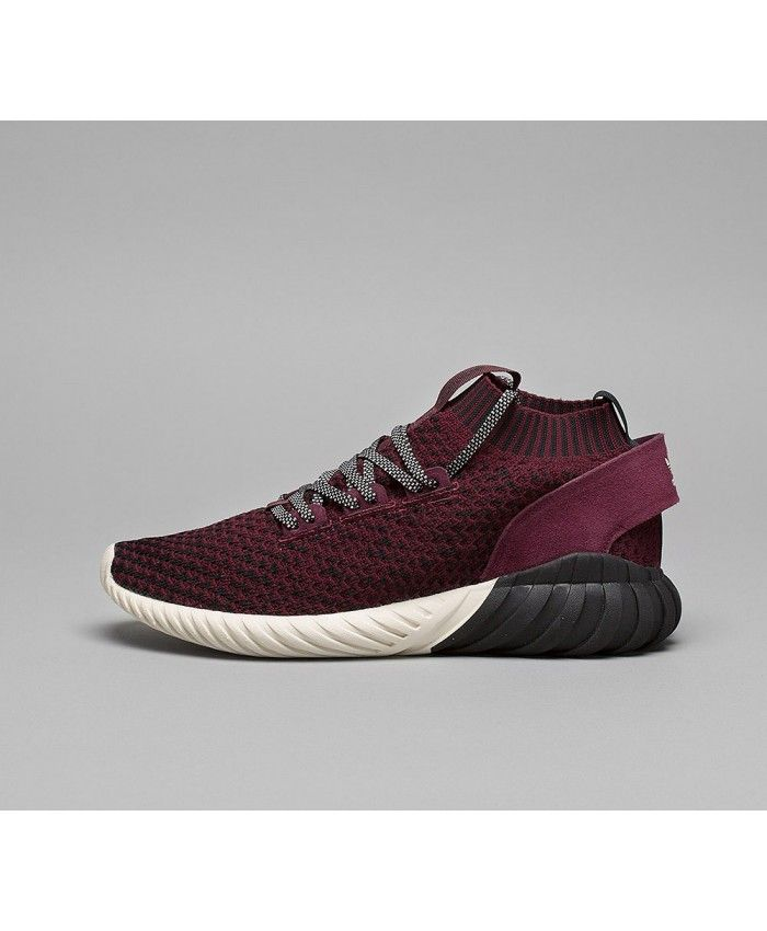 Adidas Originals Tubular Doom Sock Primeknit In Black Maroon