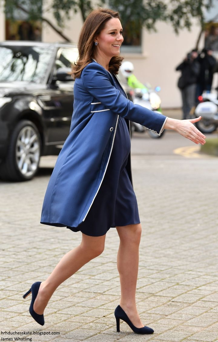 hrhduchesskate: Royal College of Obstetricians and Gynaecologists, London, February 27, 2018-The Duchess of Cambridge debuted a Jenny Packham bespoke blue dress and matching coat with white trim, accessorized with her Jimmy Choo 'Georgia' pumps, Stuart Weitzman 'Muse' clutch and G Collins & Sons tanzanite necklace and earrings