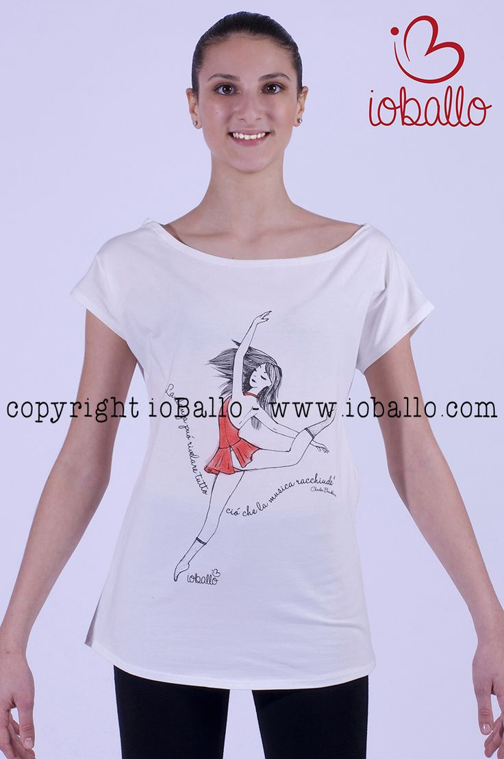 T-shirt ispirata alla danza moderna. Abbigliamento e moda per la danza online nel sito www.ioballo.com  T-shirts inspired by modern dance. Clothing and fashion for ballet online at www.ioballo.com