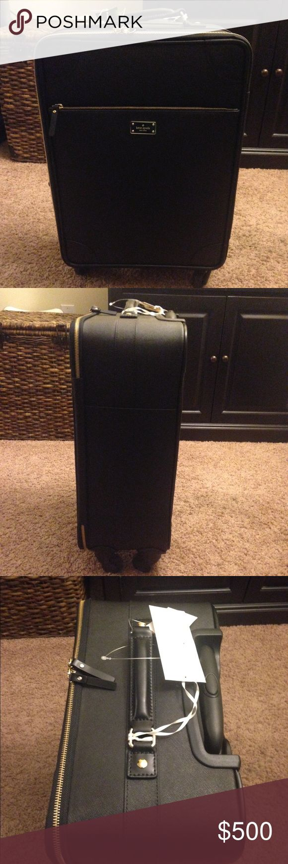 """Kate Spade carry on suitcase and/or luggage Brand new with tags. It has never been used. It's a four-wheel spinner that is an international carry-on approved suitcase. Dimensions are 22"""" x 14"""" x 8"""". Cute pink interior with Kate spade branded logo. It has an exterior zippered compartment. The interior has two zippered compartments and two pouches as well as straps to hold garments in place. kate spade Bags Travel Bags"""