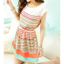 Cape Sleeve Round Collar Colorful Striped Elastic Waist Wide Hem Dress For Women