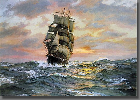 Famous Sailing Ship Paintings | The clipper ship Blue Jacket, sailing the open sea with a tropical ...