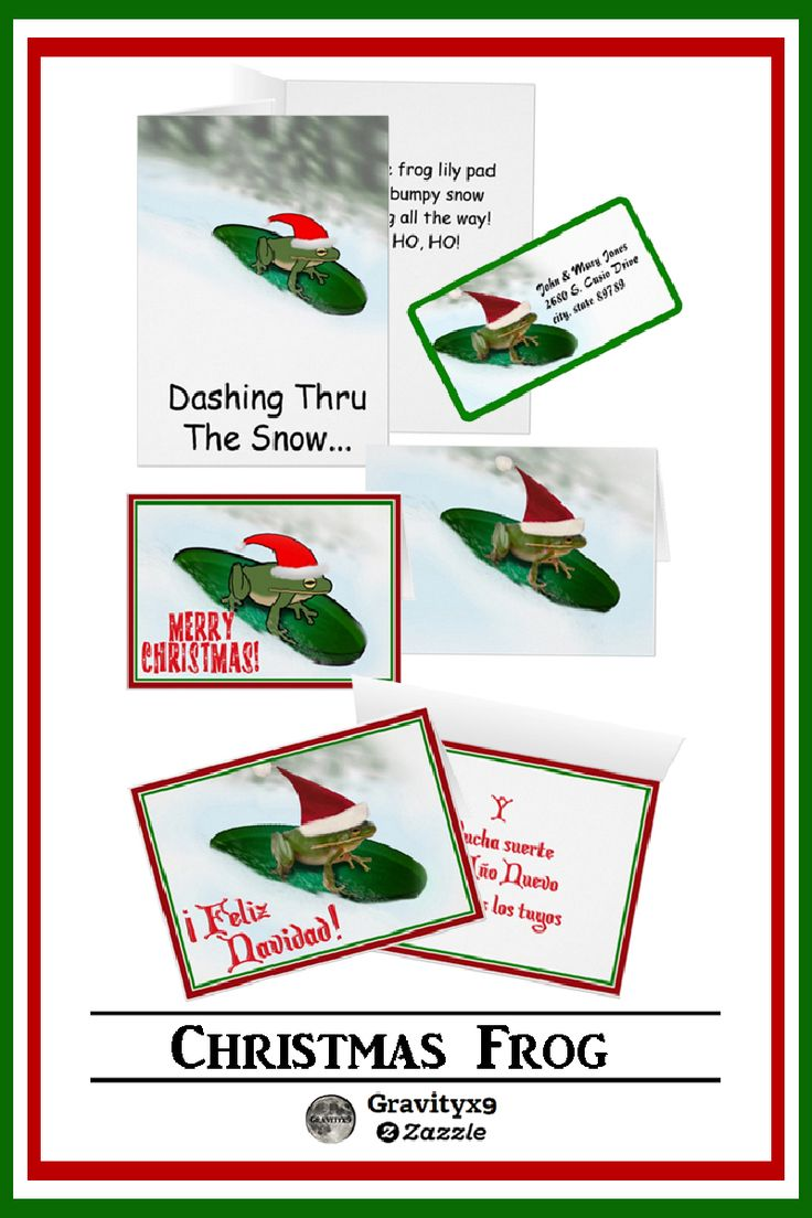 Sledding Christmas Frog Greeting Cards  available in three size options by  #I_love_xmas & #Gravityx9 Designs from Zazzle. #christmassupplies #christmasgreetings #christmasfrog