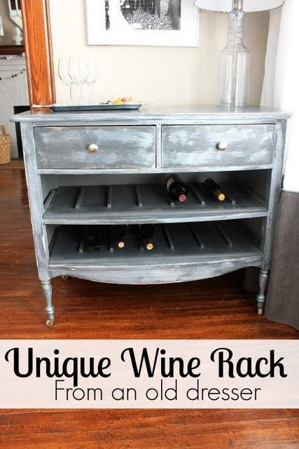 create a Unique Wine Rack from an old dresser!