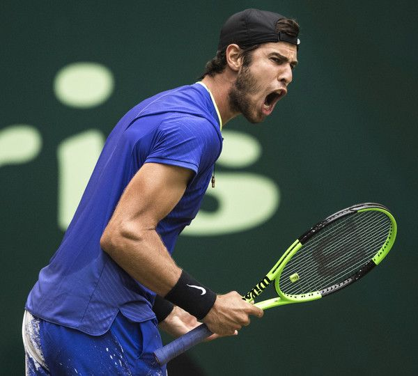 Roger Federer Photos Photos - Karen Khachanov of Russia reacts during  his semi final match against Roger Federer of Switzerland during Day 8 of the Gerry Weber Open 2017 at  on June 24, 2017 in Halle, Germany. - Gerry Weber Open - Day 8