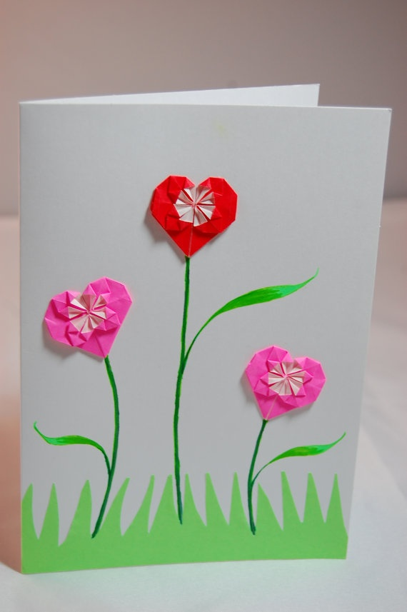 Origami Flower Valentine Card  Origami Hearts by SallysArtistry, $4.99