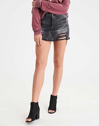 AEO Vintage Hi-Rise Washed & Destroyed Denim Skirt
