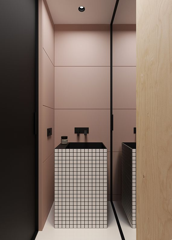 Pink, plywood, black and white grid bathroom. Gorgeous small minimalistic apartment by Emil Dervish /